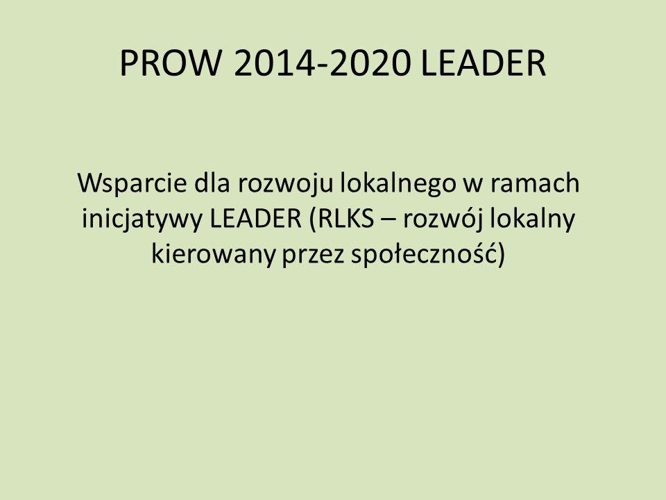 PROW 2014-2020 LEADER Wsparcie dla rozwoju lokalnego w ramach inicjatywy LEADER (RLKS – rozwój lokalny kierowany przez społeczność)