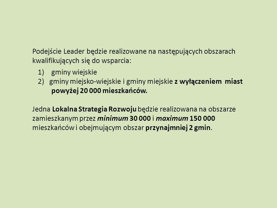 Podejście Leader będzie realizowane na następujących obszarach kwalifikujących się do wsparcia: 1)gminy wiejskie 2) gminy miejsko-wiejskie i gminy mie
