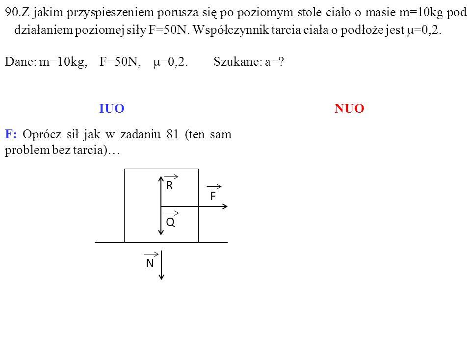 F: Oprócz sił jak w zadaniu 81 (ten sam problem bez tarcia)… Q F R N 90.Z jakim przyspieszeniem porusza się po poziomym stole ciało o masie m=10kg pod działaniem poziomej siły F=50N.