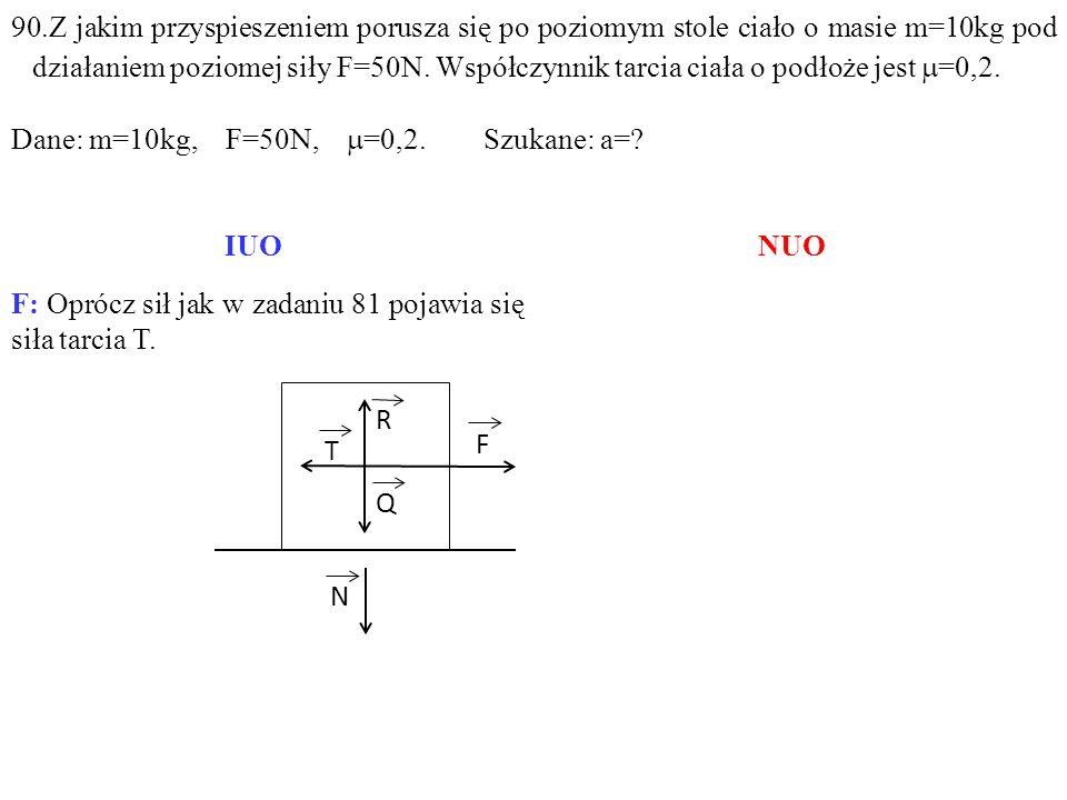 F: Oprócz sił jak w zadaniu 81 pojawia się siła tarcia T.