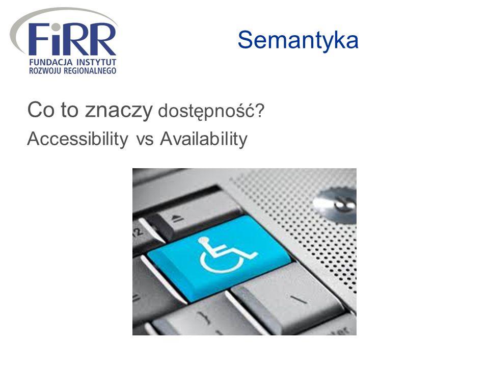 Semantyka Co to znaczy dostępność? Accessibility vs Availability