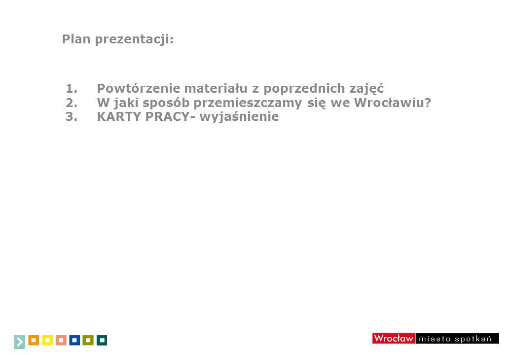 Plan prezentacji: 1.Powtórzenie materiału z poprzednich zajęć 2.W jaki sposób przemieszczamy się we Wrocławiu.