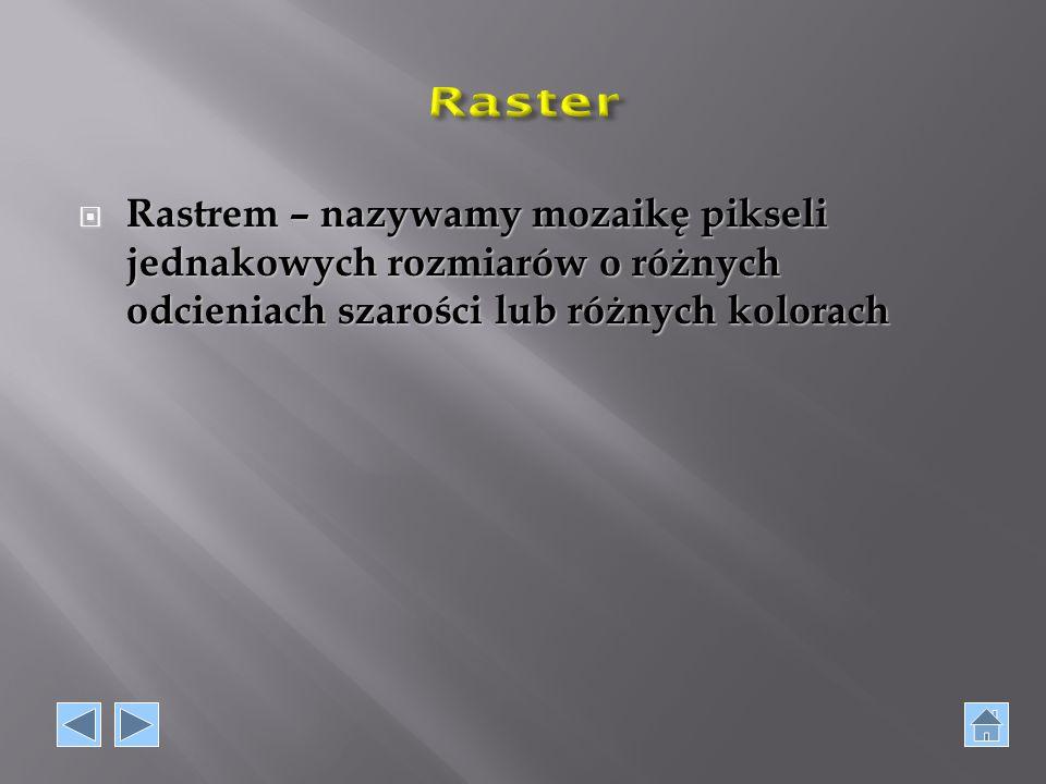  Rastrem – nazywamy mozaikę pikseli jednakowych rozmiarów o różnych odcieniach szarości lub różnych kolorach