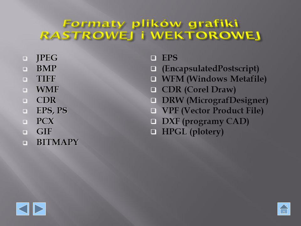  JPEG  BMP  TIFF  WMF  CDR  EPS, PS  PCX  PCX  GIF  BITMAPY  EPS  (EncapsulatedPostscript)  WFM (Windows Metafile)  CDR (Corel Draw)  D