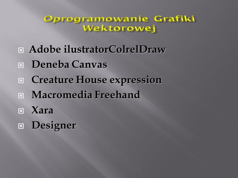  Adobe ilustratorColrelDraw  Deneba Canvas  Creature House expression  Macromedia Freehand  Xara  Designer