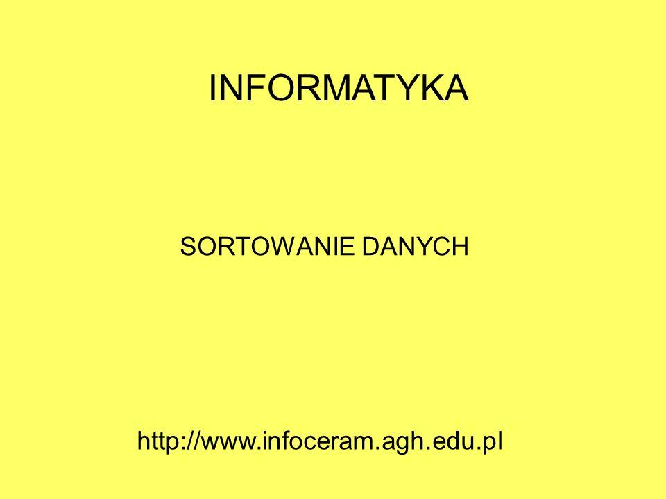 INFORMATYKA SORTOWANIE DANYCH http://www.infoceram.agh.edu.pl