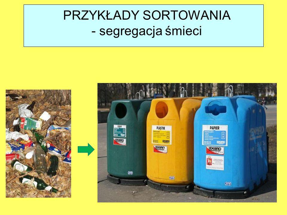 PRZYKŁADY SORTOWANIA - segregacja śmieci