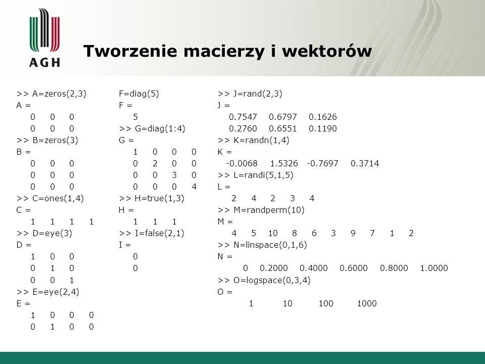 Tworzenie macierzy i wektorów >> A=zeros(2,3) A = 0 0 0 >> B=zeros(3) B = 0 0 0 >> C=ones(1,4) C = 1 1 1 1 >> D=eye(3) D = 1 0 0 0 1 0 0 0 1 >> E=eye(2,4) E = 1 0 0 0 0 1 0 0 F=diag(5) F = 5 >> G=diag(1:4) G = 1 0 0 0 0 2 0 0 0 0 3 0 0 0 0 4 >> H=true(1,3) H = 1 1 1 >> I=false(2,1) I = 0 0 >> J=rand(2,3) J = 0.7547 0.6797 0.1626 0.2760 0.6551 0.1190 >> K=randn(1,4) K = -0.0068 1.5326 -0.7697 0.3714 >> L=randi(5,1,5) L = 2 4 2 3 4 >> M=randperm(10) M = 4 5 10 8 6 3 9 7 1 2 >> N=linspace(0,1,6) N = 0 0.2000 0.4000 0.6000 0.8000 1.0000 >> O=logspace(0,3,4) O = 1 10 100 1000