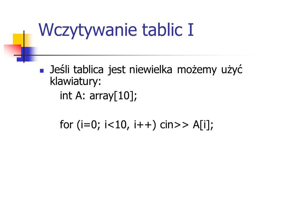 Wczytywanie tablic I Jeśli tablica jest niewielka możemy użyć klawiatury: int A: array[10]; for (i=0; i > A[i];