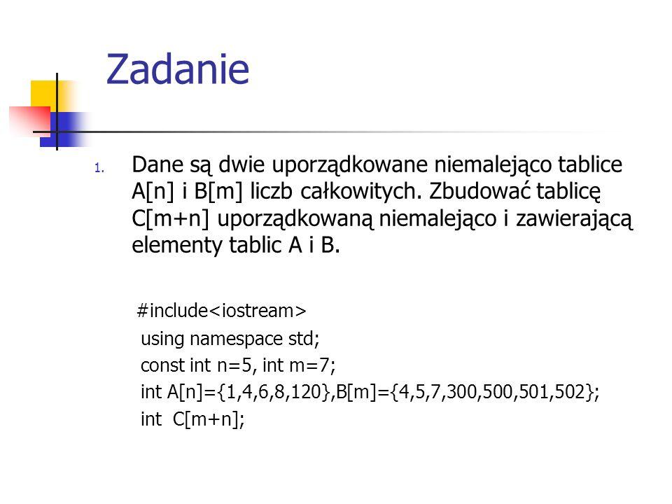 Zadanie 1. Dane są dwie uporządkowane niemalejąco tablice A[n] i B[m] liczb całkowitych. Zbudować tablicę C[m+n] uporządkowaną niemalejąco i zawierają