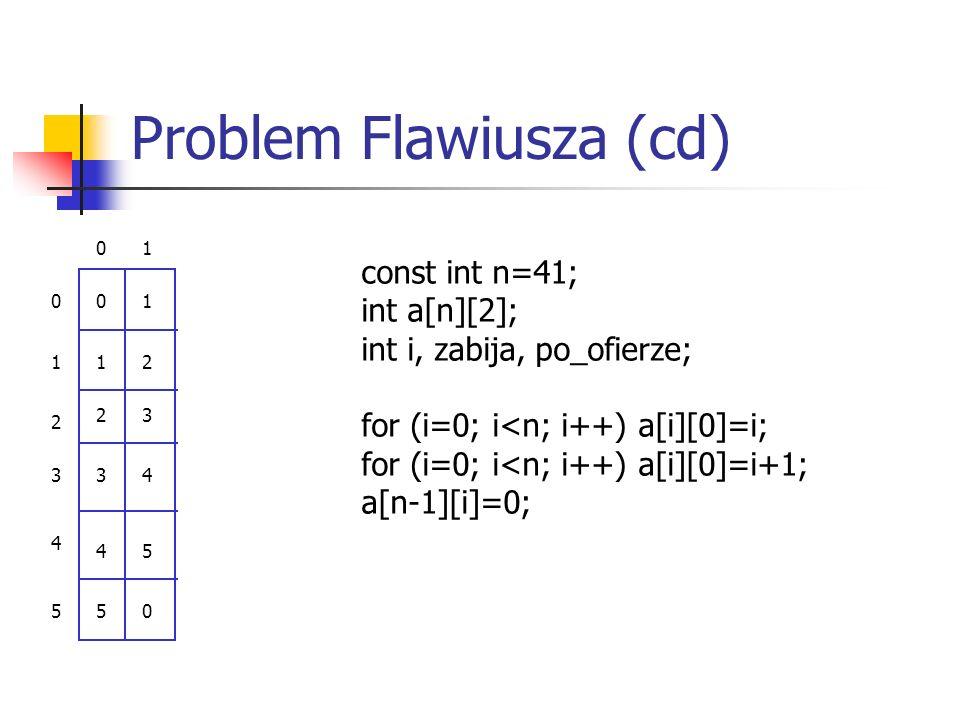 Problem Flawiusza (cd) 01 0 1 2 3 4 5 0 1 2 3 4 5 1 2 3 4 5 0 const int n=41; int a[n][2]; int i, zabija, po_ofierze; for (i=0; i<n; i++) a[i][0]=i; f