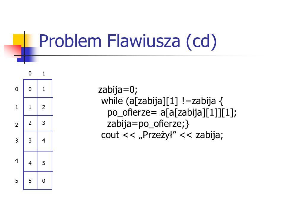 """Problem Flawiusza (cd) 01 0 1 2 3 4 5 0 1 2 3 4 5 1 2 3 4 5 0 zabija=0; while (a[zabija][1] !=zabija { po_ofierze= a[a[zabija][1]][1]; zabija=po_ofierze;} cout << """"Przeżył << zabija;"""