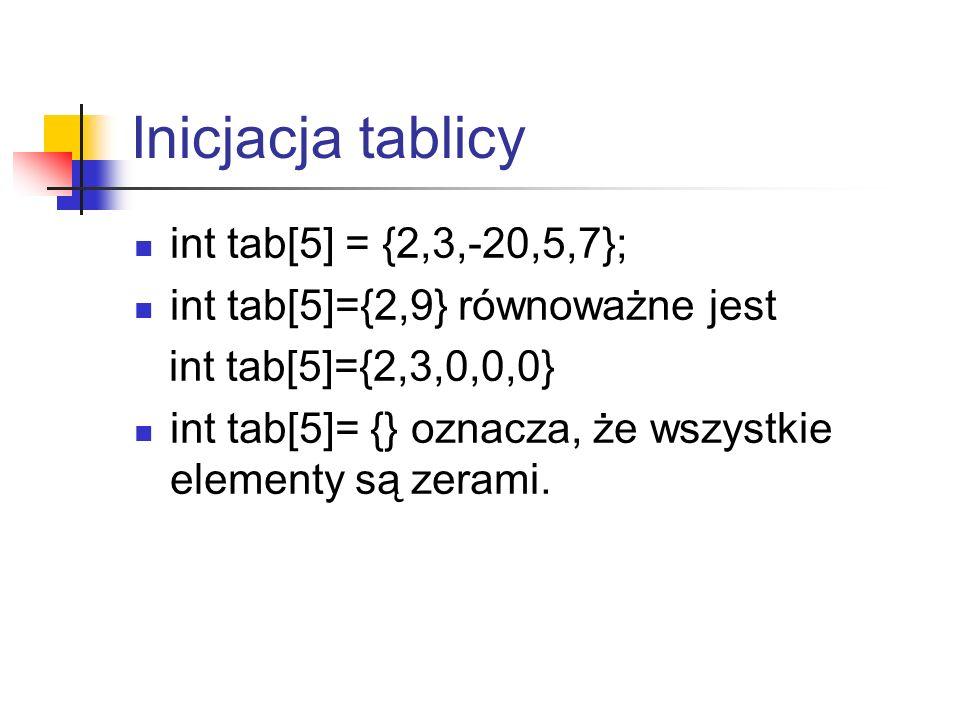 Inicjacja tablicy int tab[5] = {2,3,-20,5,7}; int tab[5]={2,9} równoważne jest int tab[5]={2,3,0,0,0} int tab[5]= {} oznacza, że wszystkie elementy są