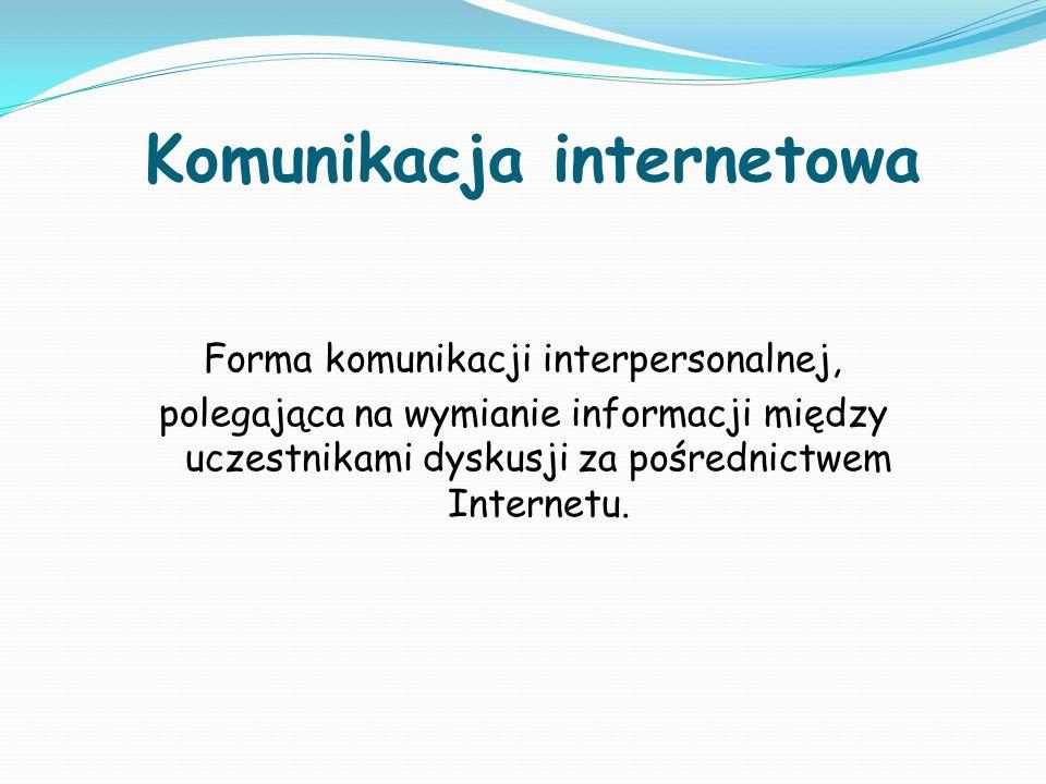 Formy dyskusji Grupa dyskusyjna – używa protokołu internetowego NNTP dyskusja toczy się w Usenecie lub na oddzielnych serwerach grup z wykorzystaniem czytników grup; Lista dyskusyjna – używa protokołów poczty elektronicznej, korzysta z wyspecjalizowanego oprogramowania list, serwerów pocztowych i klientów poczty; Forum dyskusyjne – używa protokołu HTTP, dyskusja toczy się na serwerach www z wykorzystaniem oprogramowania forum i przeglądarek internetowych; Czat –dyskusja toczona w czasie rzeczywistym: IRC – używa protokołu IRC, dyskusja toczy się na serwerach IRC komunikator internetowy – używa własnego protokołu, korzysta z własnych serwerów i klientów BBS – tablica ogłoszeniowa, może używać połączeń telefonicznych (modemowych) i własnych protokołów, korzysta z własnych serwerów i klientów; konferencja Fidonetu – odpowiednik emailowej listy dyskusyjnej w popularnej sieci BBS.