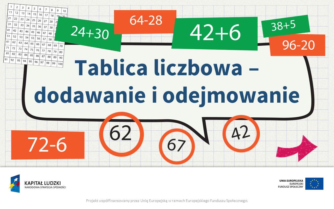 Tablica liczbowa – dodawanie i odejmowanie Projekt współfinansowany przez Unię Europejską w ramach Europejskiego Funduszu Społecznego.