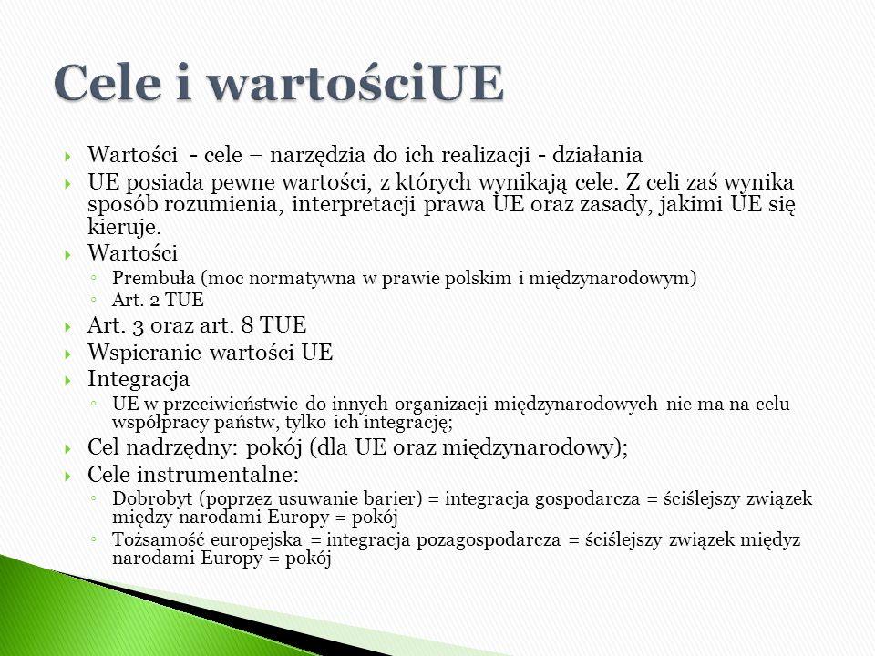  Wartości - cele – narzędzia do ich realizacji - działania  UE posiada pewne wartości, z których wynikają cele. Z celi zaś wynika sposób rozumienia,
