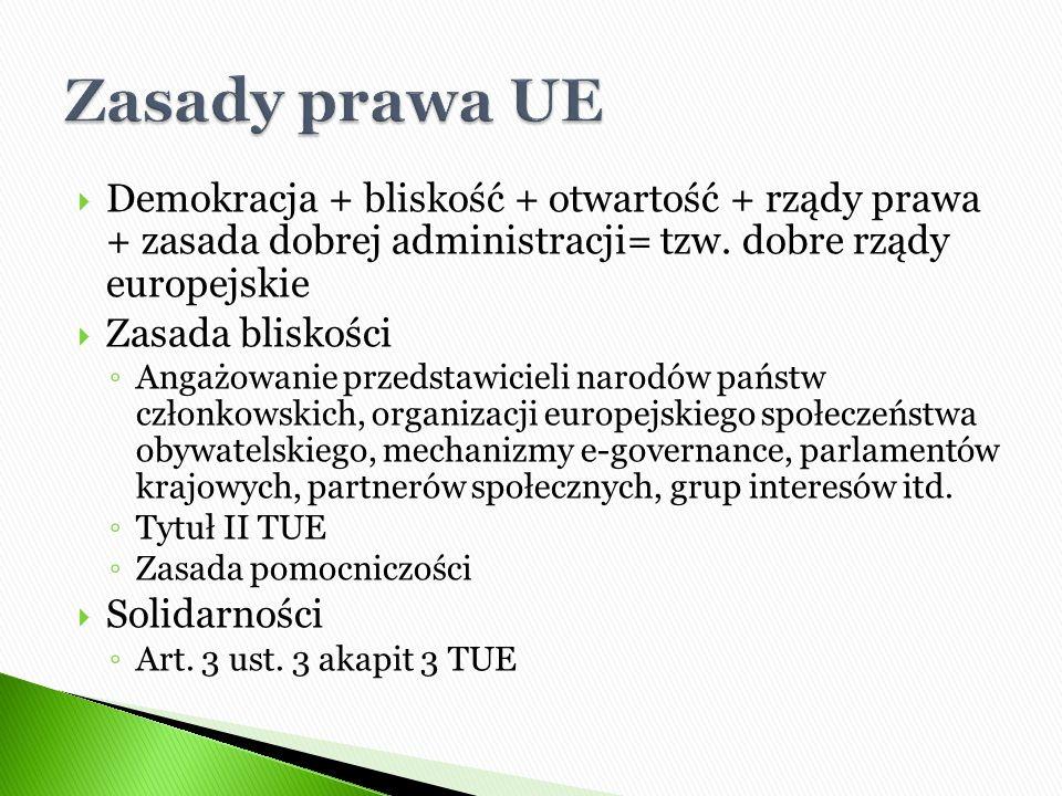 Demokracja + bliskość + otwartość + rządy prawa + zasada dobrej administracji= tzw. dobre rządy europejskie  Zasada bliskości ◦ Angażowanie przedst