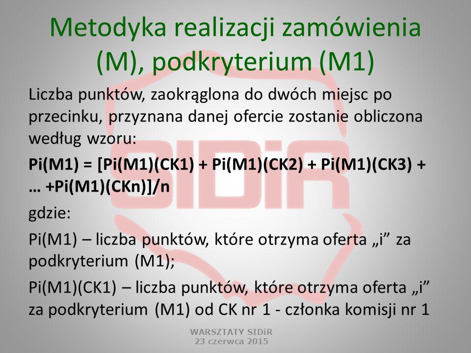 Metodyka realizacji zamówienia (M), podkryterium (M1) Liczba punktów, zaokrąglona do dwóch miejsc po przecinku, przyznana danej ofercie zostanie oblic