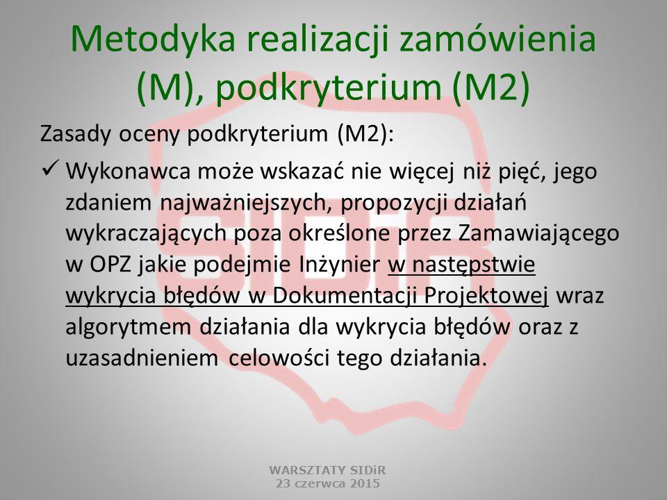 Metodyka realizacji zamówienia (M), podkryterium (M2) Zasady oceny podkryterium (M2): Wykonawca może wskazać nie więcej niż pięć, jego zdaniem najważn