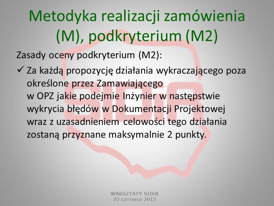 Metodyka realizacji zamówienia (M), podkryterium (M2) Zasady oceny podkryterium (M2): Za każdą propozycję działania wykraczającego poza określone prze