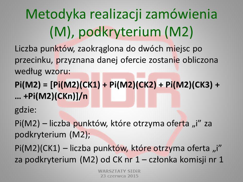 Metodyka realizacji zamówienia (M), podkryterium (M2) Liczba punktów, zaokrąglona do dwóch miejsc po przecinku, przyznana danej ofercie zostanie oblic