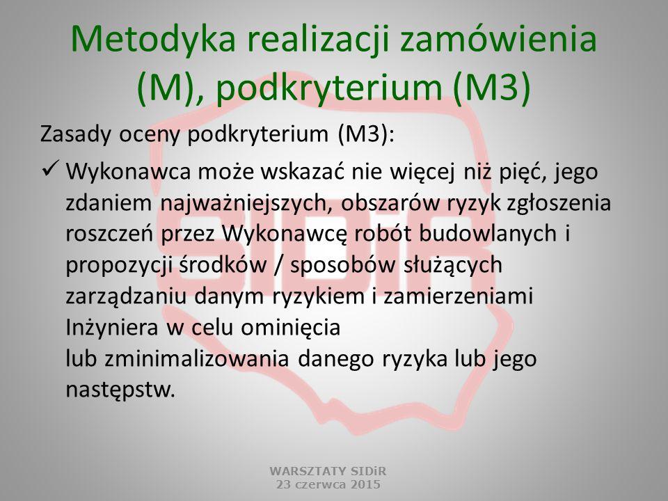 Metodyka realizacji zamówienia (M), podkryterium (M3) Zasady oceny podkryterium (M3): Wykonawca może wskazać nie więcej niż pięć, jego zdaniem najważn