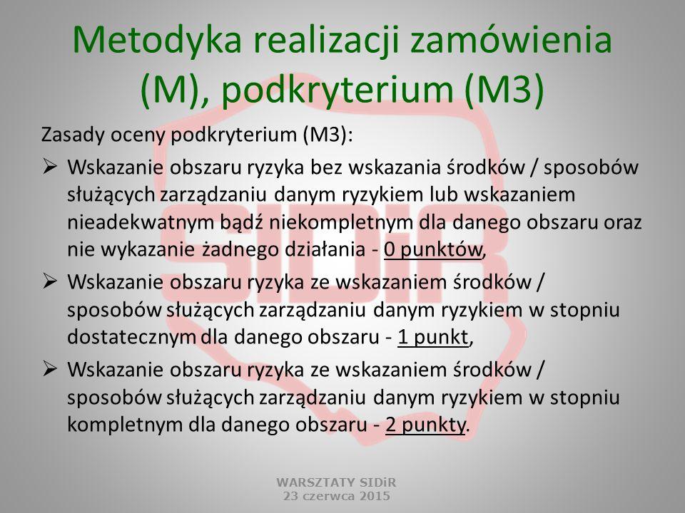 Metodyka realizacji zamówienia (M), podkryterium (M3) Zasady oceny podkryterium (M3):  Wskazanie obszaru ryzyka bez wskazania środków / sposobów służ