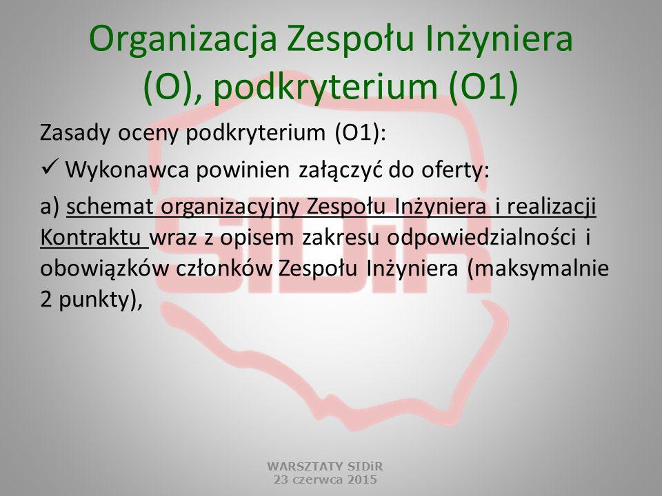 Organizacja Zespołu Inżyniera (O), podkryterium (O1) Zasady oceny podkryterium (O1): Wykonawca powinien załączyć do oferty: a) schemat organizacyjny Z