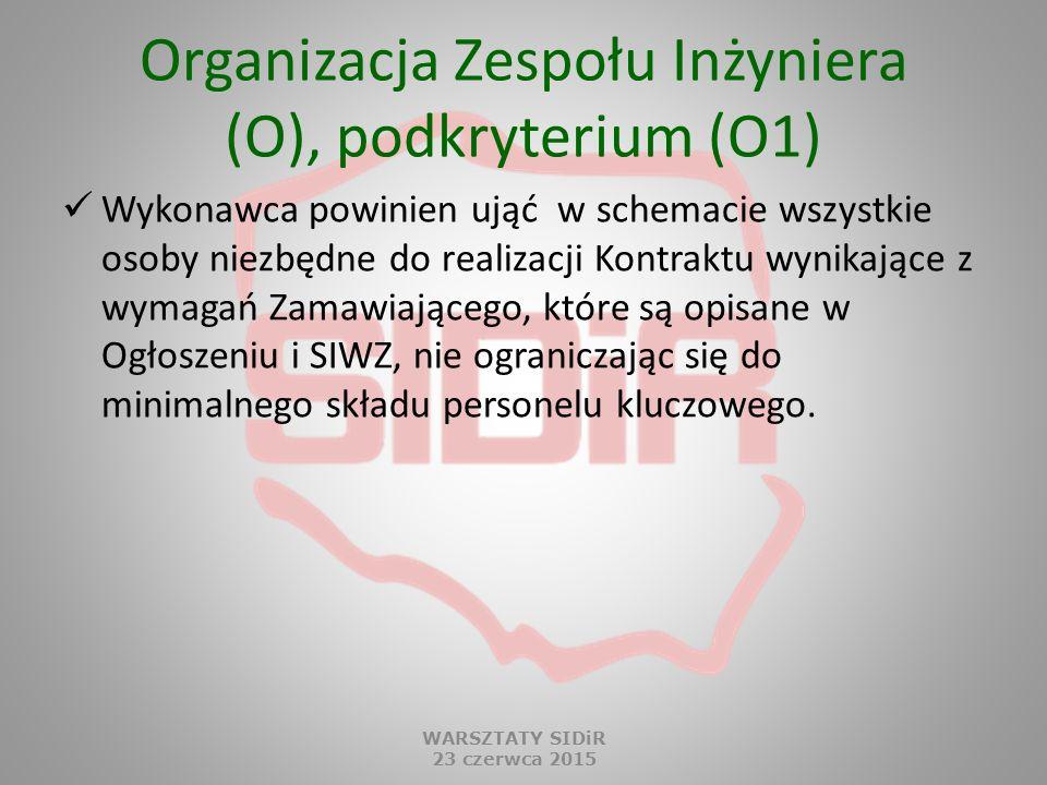 Organizacja Zespołu Inżyniera (O), podkryterium (O1) Wykonawca powinien ująć w schemacie wszystkie osoby niezbędne do realizacji Kontraktu wynikające