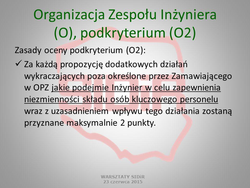 Organizacja Zespołu Inżyniera (O), podkryterium (O2) Zasady oceny podkryterium (O2): Za każdą propozycję dodatkowych działań wykraczających poza okreś