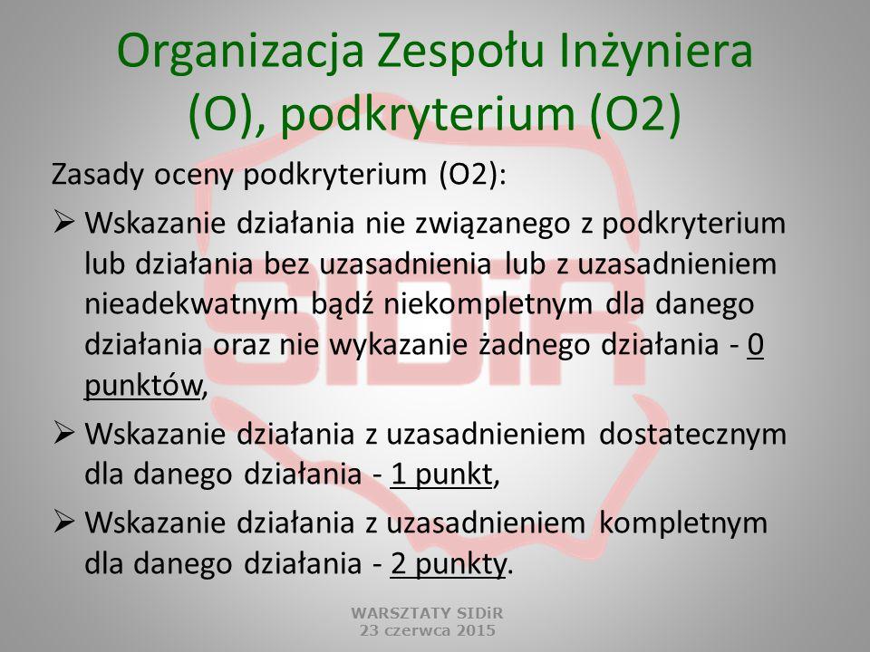 Organizacja Zespołu Inżyniera (O), podkryterium (O2) Zasady oceny podkryterium (O2):  Wskazanie działania nie związanego z podkryterium lub działania