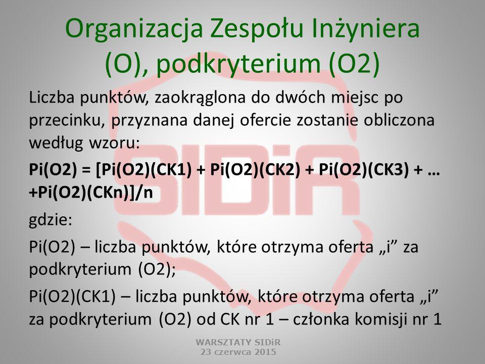 Organizacja Zespołu Inżyniera (O), podkryterium (O2) Liczba punktów, zaokrąglona do dwóch miejsc po przecinku, przyznana danej ofercie zostanie oblicz