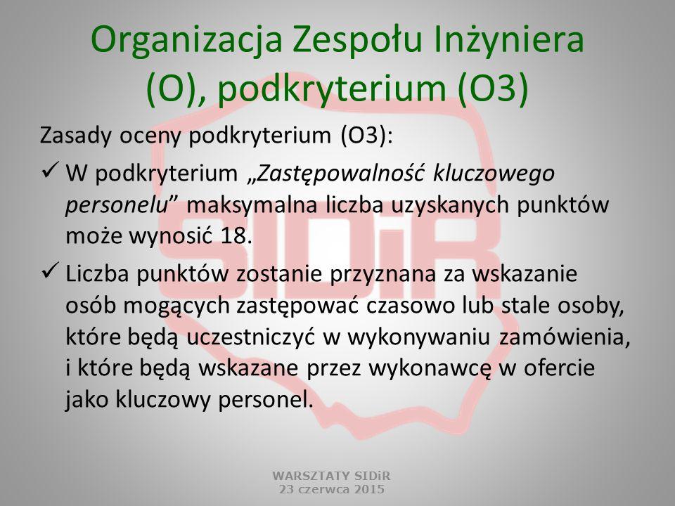 """Organizacja Zespołu Inżyniera (O), podkryterium (O3) Zasady oceny podkryterium (O3): W podkryterium """"Zastępowalność kluczowego personelu"""" maksymalna l"""
