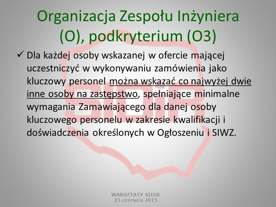Organizacja Zespołu Inżyniera (O), podkryterium (O3) Dla każdej osoby wskazanej w ofercie mającej uczestniczyć w wykonywaniu zamówienia jako kluczowy