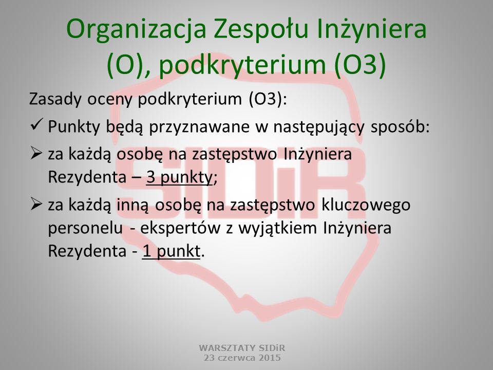Organizacja Zespołu Inżyniera (O), podkryterium (O3) Zasady oceny podkryterium (O3): Punkty będą przyznawane w następujący sposób:  za każdą osobę na