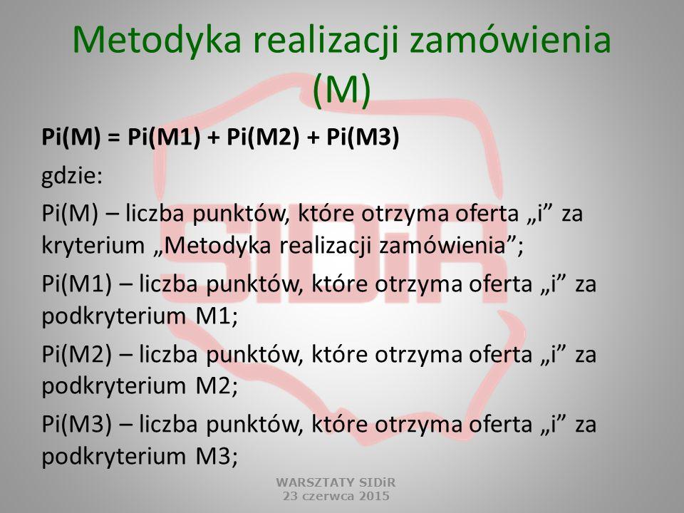 """Metodyka realizacji zamówienia (M) Pi(M) = Pi(M1) + Pi(M2) + Pi(M3) gdzie: Pi(M) – liczba punktów, które otrzyma oferta """"i"""" za kryterium """"Metodyka rea"""