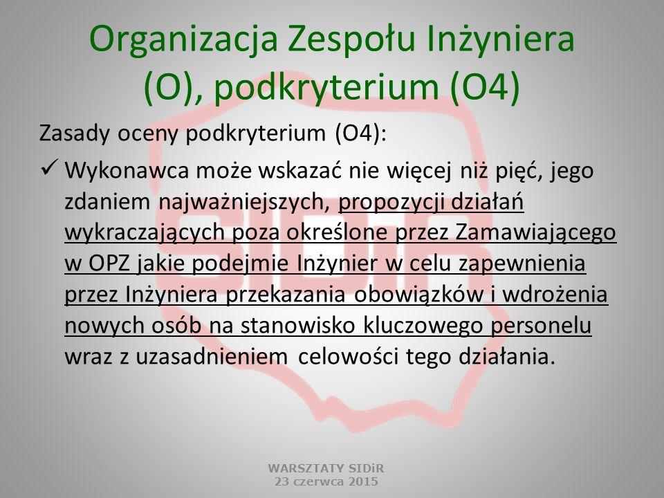 Organizacja Zespołu Inżyniera (O), podkryterium (O4) Zasady oceny podkryterium (O4): Wykonawca może wskazać nie więcej niż pięć, jego zdaniem najważni