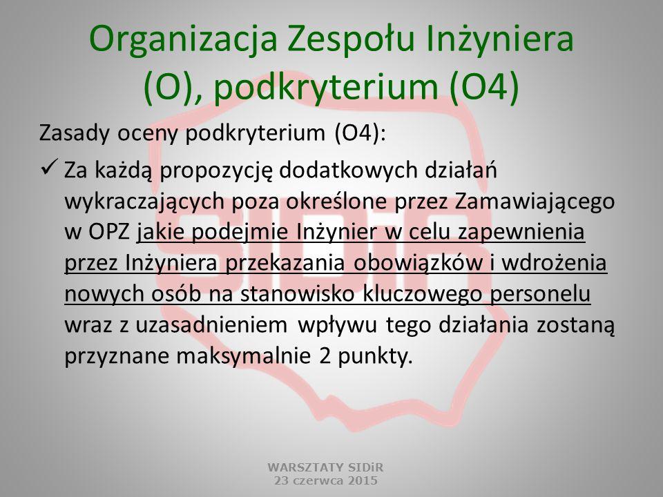 Organizacja Zespołu Inżyniera (O), podkryterium (O4) Zasady oceny podkryterium (O4): Za każdą propozycję dodatkowych działań wykraczających poza okreś