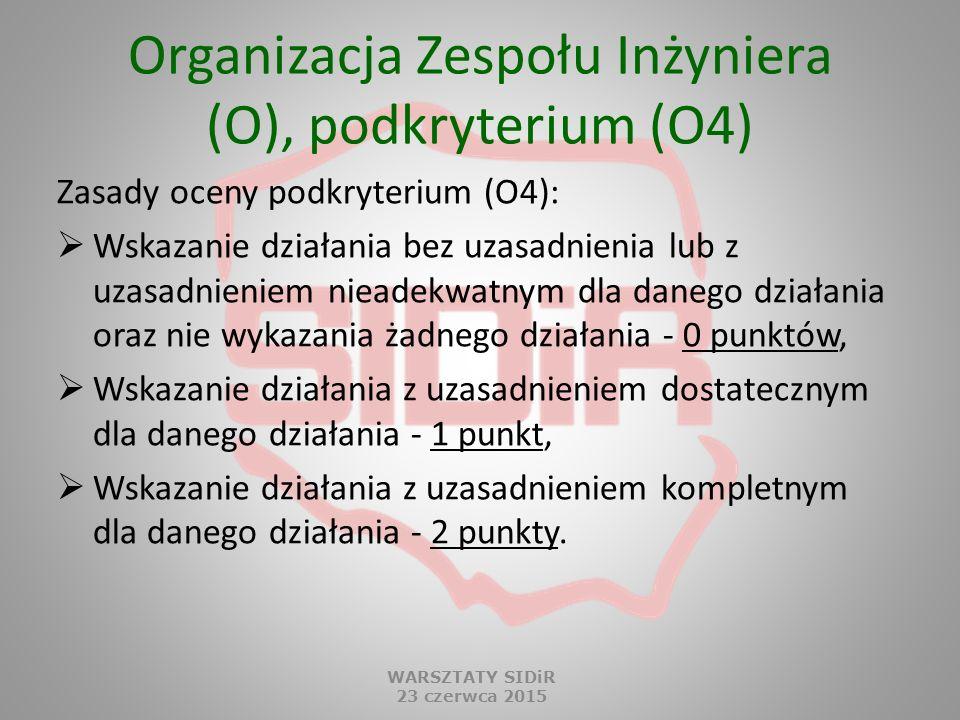 Organizacja Zespołu Inżyniera (O), podkryterium (O4) Zasady oceny podkryterium (O4):  Wskazanie działania bez uzasadnienia lub z uzasadnieniem nieade
