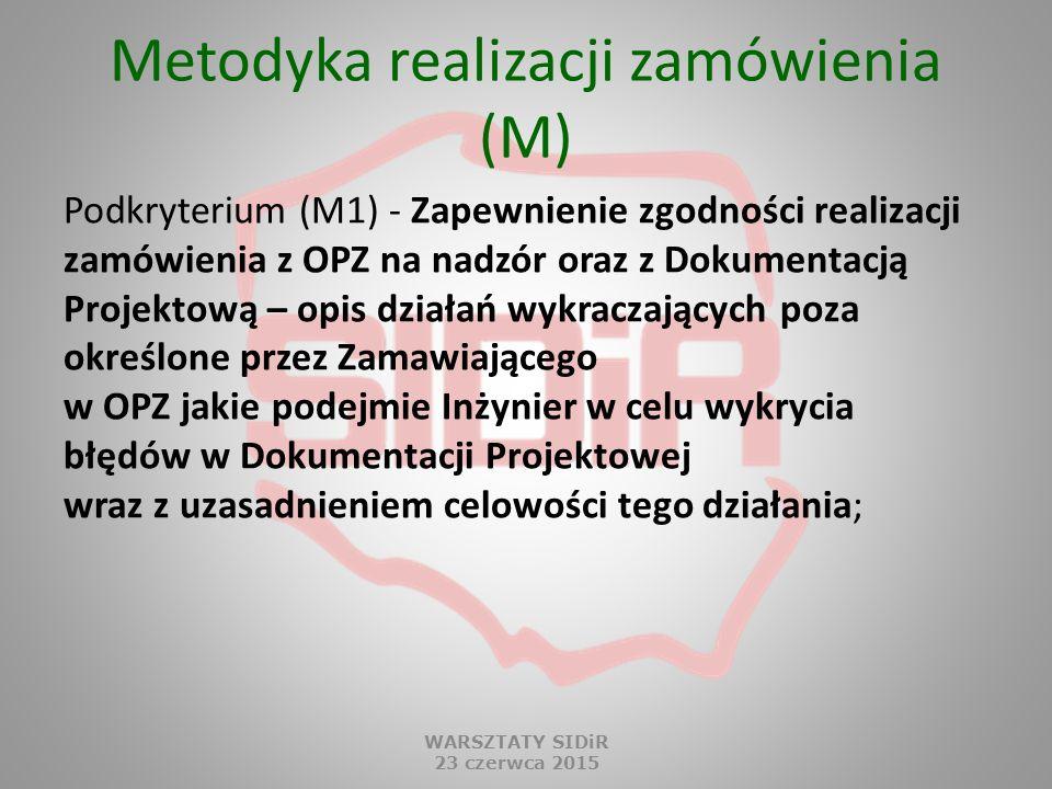 Metodyka realizacji zamówienia (M) Podkryterium (M1) - Zapewnienie zgodności realizacji zamówienia z OPZ na nadzór oraz z Dokumentacją Projektową – op