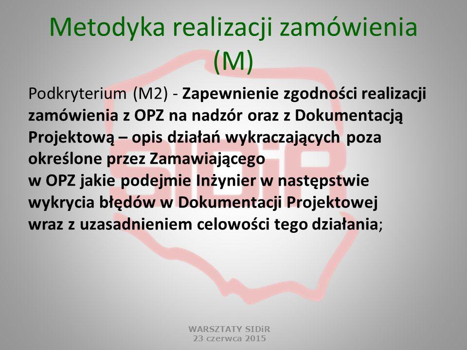Metodyka realizacji zamówienia (M) Podkryterium (M2) - Zapewnienie zgodności realizacji zamówienia z OPZ na nadzór oraz z Dokumentacją Projektową – op