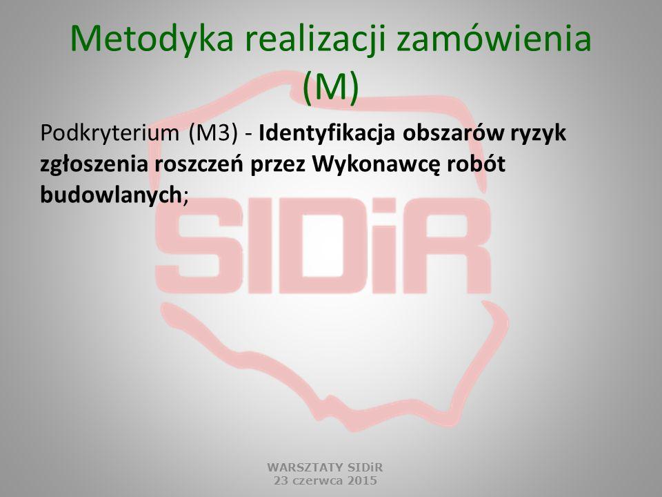 Metodyka realizacji zamówienia (M) Podkryterium (M3) - Identyfikacja obszarów ryzyk zgłoszenia roszczeń przez Wykonawcę robót budowlanych; WARSZTATY S
