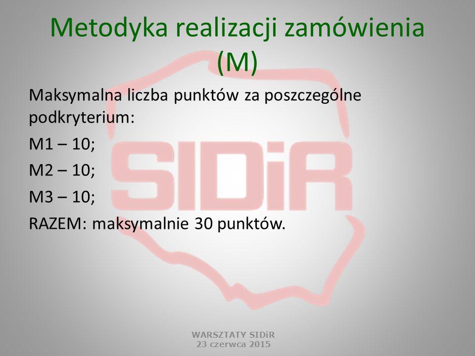 Metodyka realizacji zamówienia (M) Maksymalna liczba punktów za poszczególne podkryterium: M1 – 10; M2 – 10; M3 – 10; RAZEM: maksymalnie 30 punktów. W