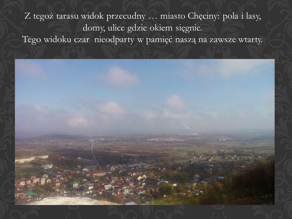 Z tegoż tarasu widok przecudny … miasto Chęciny: pola i lasy, domy, ulice gdzie okiem sięgnie.