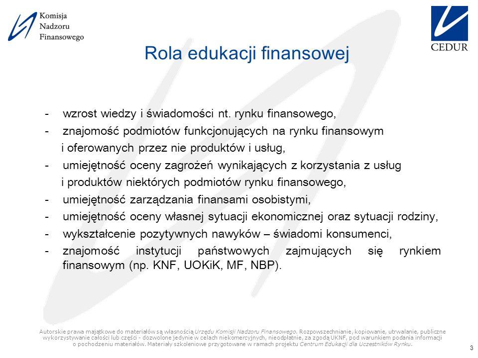 Rola edukacji finansowej -wzrost wiedzy i świadomości nt.