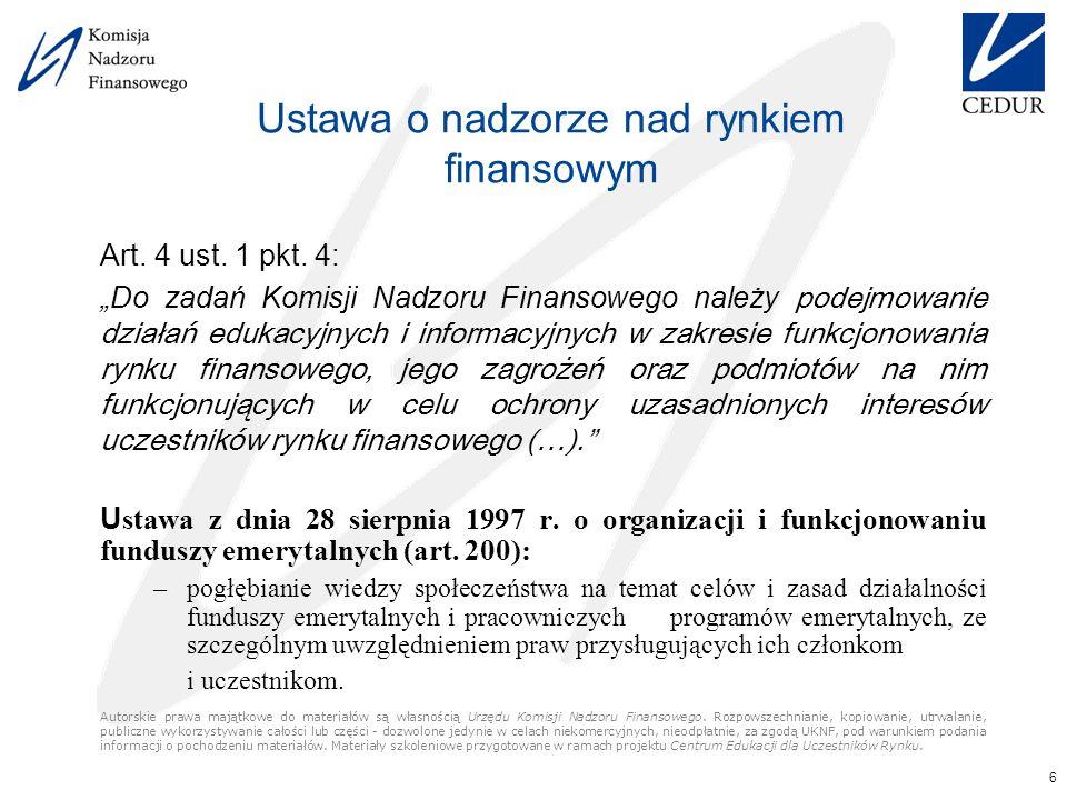 6 Ustawa o nadzorze nad rynkiem finansowym Art. 4 ust.