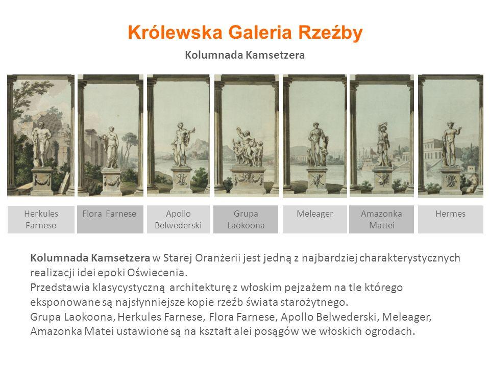 Kolumnada Kamsetzera Kolumnada Kamsetzera w Starej Oranżerii jest jedną z najbardziej charakterystycznych realizacji idei epoki Oświecenia. Przedstawi