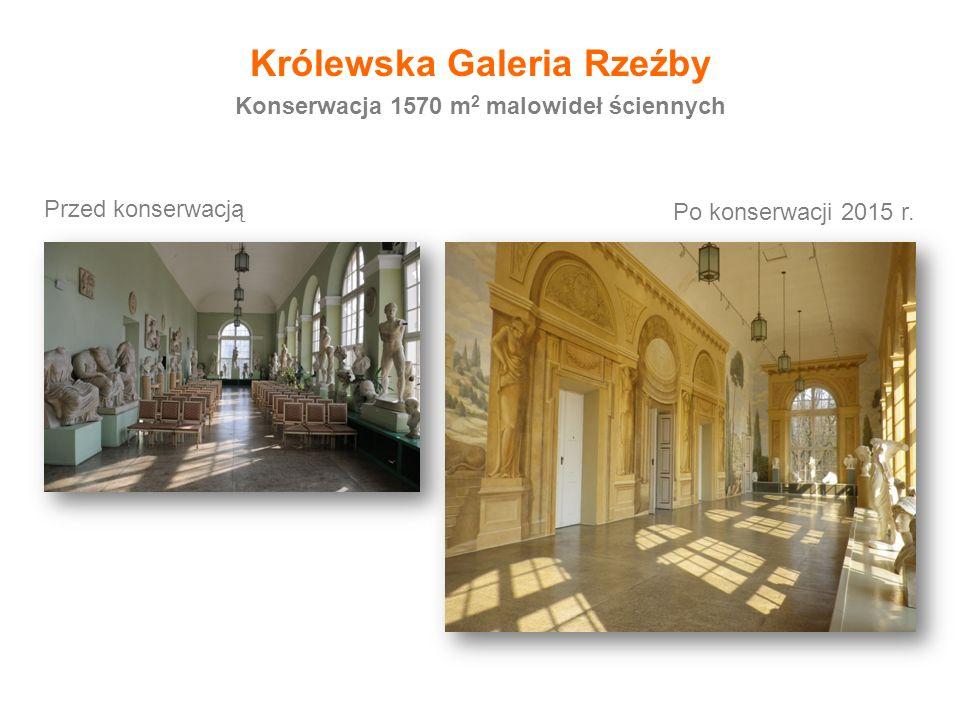 Przed konserwacją Po konserwacji 2015 r. Konserwacja 1570 m 2 malowideł ściennych Królewska Galeria Rzeźby