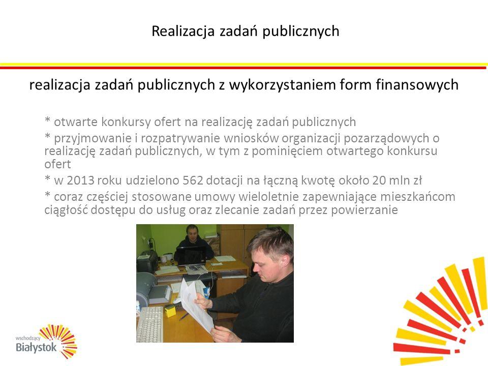 realizacja zadań publicznych z wykorzystaniem form finansowych * otwarte konkursy ofert na realizację zadań publicznych * przyjmowanie i rozpatrywanie