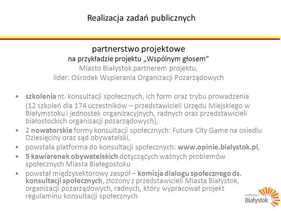 """partnerstwo projektowe na przykładzie projektu """"Wspólnym głosem"""" Miasto Białystok partnerem projektu, lider: Ośrodek Wspierania Organizacji Pozarządow"""
